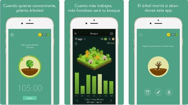 pantallas aplicación forest